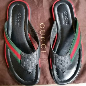 Gucci Guccissima GG flip flop sandals leather